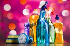 清洁物品,家工作五颜六色的题材 库存图片