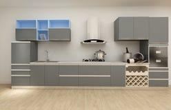 清洗现代厨房, 3D例证背景 库存照片