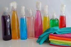 清洗的五颜六色的用品 库存图片