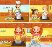 清洗的母亲和的女儿烹调和 皇族释放例证