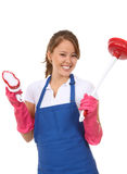 清洗的逗人喜爱的佣人供应妇女 库存图片
