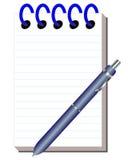 清洗笔记本与文字的把柄 免版税库存照片
