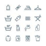 清洗洗衣店和烘干机服务传染媒介线象 库存例证