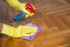 清洁设备和木木条地板 库存图片