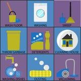 清洁象集合洗涤的打扫灰尘和打扫 库存例证