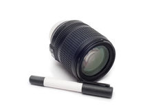 清洗透镜 有透镜刷子的摄象机镜头 库存图片
