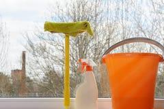 清洁重点玻璃表面视窗 库存图片