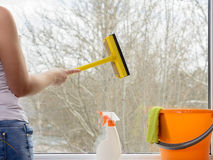 清洁重点玻璃表面视窗 免版税库存图片
