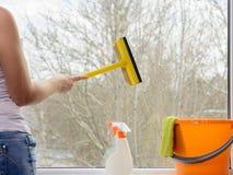 清洁重点玻璃表面视窗 库存照片