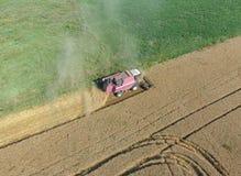 清洁麦子收割机 顶视图 免版税库存照片
