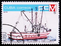 渔基地,虾钢丝网水泥,从古巴的系列渔船队,大约1978年 免版税库存照片