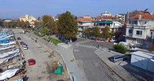 渔堤防的顶视图在老波摩莱,保加利亚 库存图片