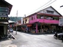 渔夫一个小镇在邦咯岛,马来西亚 免版税库存图片