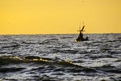 渔夫剪影早晨 图库摄影