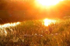 渔夫剪影芦苇的与一根钓鱼竿 在日落或日出的钓鱼 太阳的反射在湖 库存图片