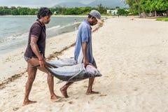 渔夫和大金枪鱼 库存图片