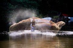 渔夫在一工作天 免版税图库摄影