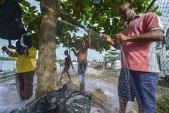 渔夫在卡塔赫钠,哥伦比亚 图库摄影
