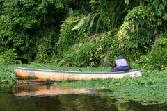 渔夫在国家公园Tortuguero哥斯达黎加密林  库存照片