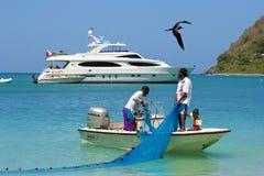 渔夫在托尔托拉岛,加勒比 图库摄影