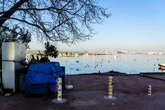 渔夫在明亮的天-土耳其保护 库存图片