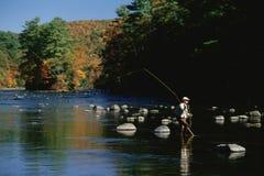 渔夫在水中 免版税库存照片