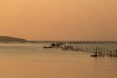 渔夫在湖 免版税库存图片