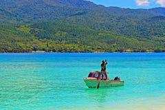 渔夫在瓦努阿图 图库摄影