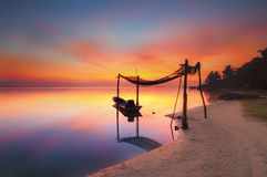 渔夫小船停车处的反射 免版税图库摄影