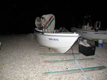 渔夫小船看法  免版税库存图片