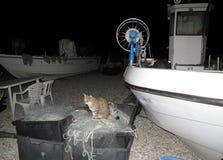 渔夫小船看法  库存照片