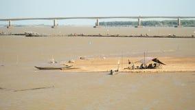 渔夫帐篷,竹桥梁,桥梁,钓鱼 股票录像