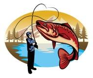 渔夫抓住大鱼 库存图片