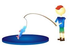 渔夫捉住了一个鱼例证 图库摄影