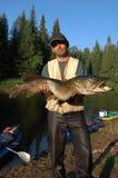 渔夫捉住了一支巨大的矛 图库摄影