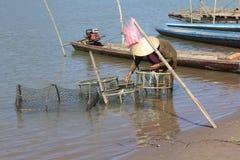 渔夫捕网Fishs 库存照片