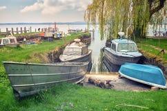 渔夫村庄在妇女s海岛, Chiemsee湖 库存照片