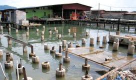 渔夫村庄看法在邦咯岛,马来西亚 免版税库存照片