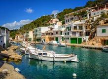 渔夫村庄Cala菲格拉,马略卡,西班牙 库存图片