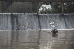 渔夫渔在水中 库存图片