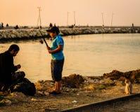 渔夫父亲和儿子 免版税图库摄影