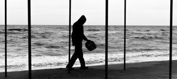 渔夫的剪影 图库摄影