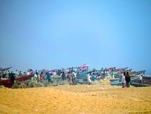 渔夫的小海湾, Chandrabhaga海滩,科纳克太阳神庙Odisha 图库摄影