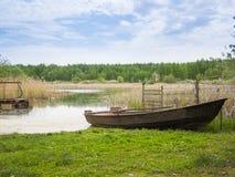 渔夫的小船。 库存照片