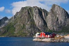 渔夫的房子lofoten海岛 图库摄影
