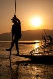 渔夫的生活在Inle湖,缅甸 库存照片
