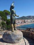 渔夫的妻子雕象lloret De 3月肋前缘Brava 免版税库存图片