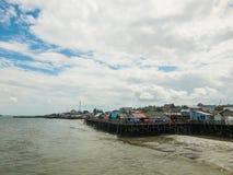 渔夫码头在巴厘巴板,加里曼丹, Indoensia 免版税图库摄影