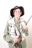 渔夫飞行前辈妇女 免版税库存图片