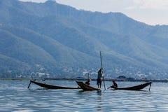 渔夫,缅甸的(Burmar) inle湖 免版税库存图片
